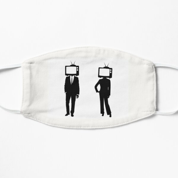 TV Slave Heads!! Black and White Silhouette, Are You a Slave to Your TV? Flat Mask