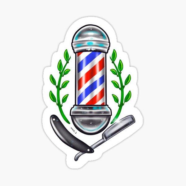 Barber pole and straight razor Sticker