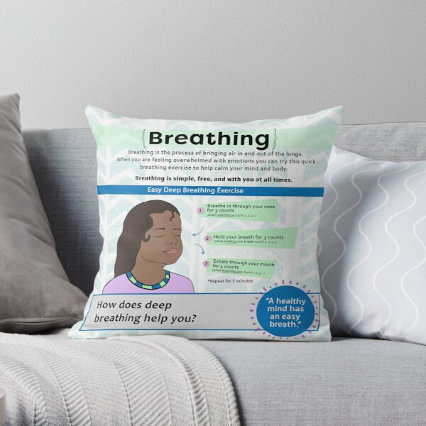 Breathing Exercise For Kids - Coping Skills Throw Pillow