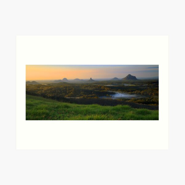 Sunrise Over the Glass House Mountains Art Print