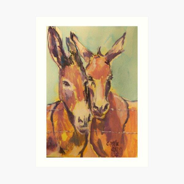 Donkey couple Art Print