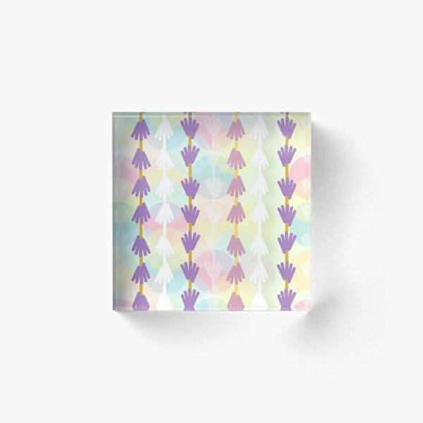 """Lavender Bubble Stripe"" Peaceful Pink Yellow Purple Blue Green Floral Designer Print Acrylic Block"