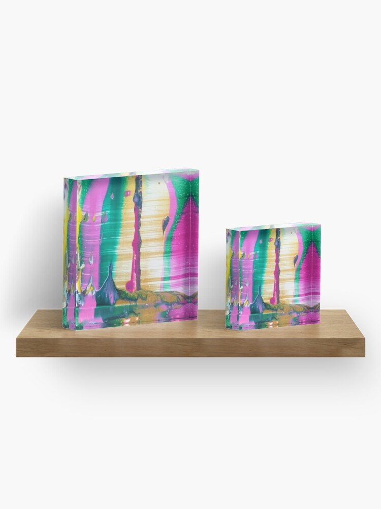 """Alternate view of Abstract Painting-""""Fruit Stripe""""-Abstract Art-Pop Art Acrylic Block"""