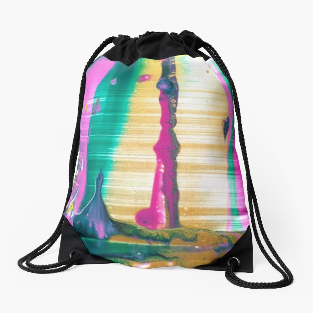 "Abstract Painting-""Fruit Stripe""-Abstract Art-Pop Art Drawstring Bag"