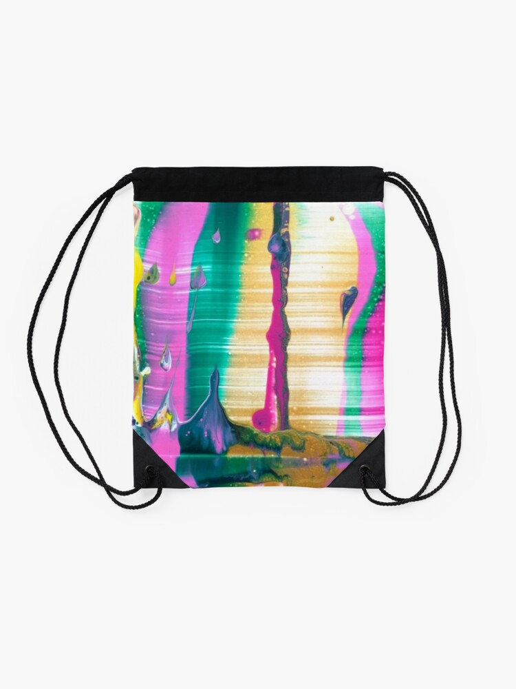 """Alternate view of Abstract Painting-""""Fruit Stripe""""-Abstract Art-Pop Art Drawstring Bag"""