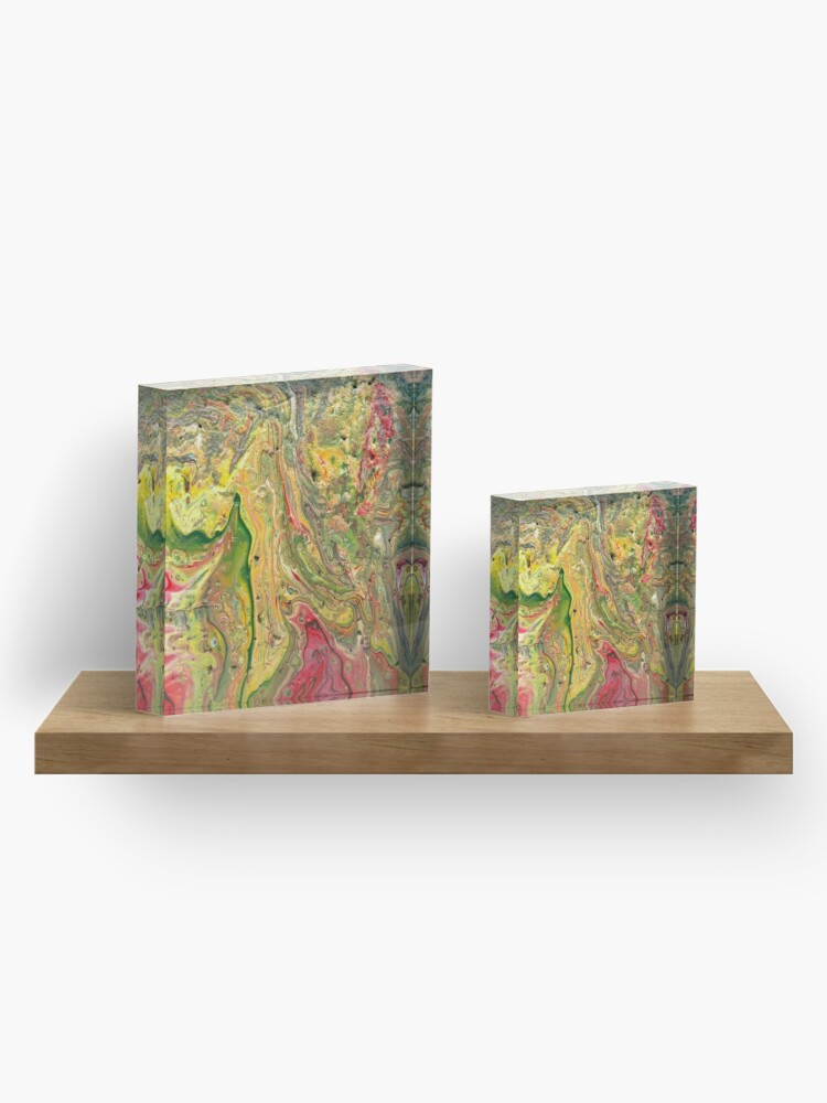 """Alternate view of Abstract Painting-""""Craters and Crevices""""-Abstract Art Acrylic Block"""