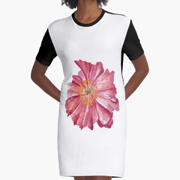 Pink Poppy Graphic T-Shirt Dress