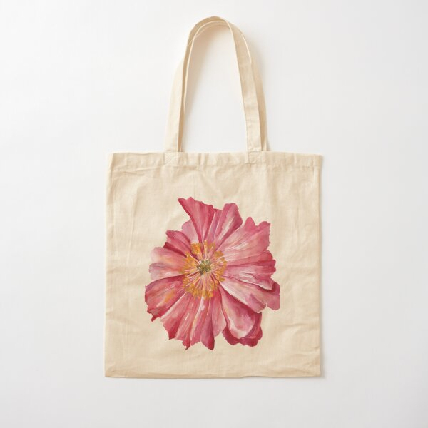 Pink Poppy Cotton Tote Bag