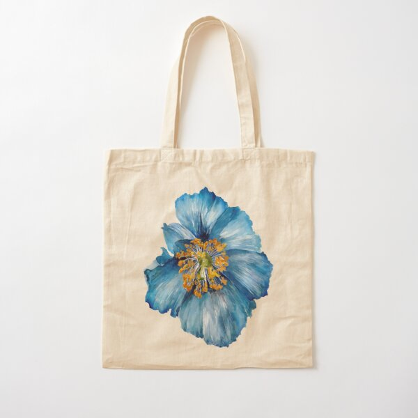 Blue Poppy Cotton Tote Bag