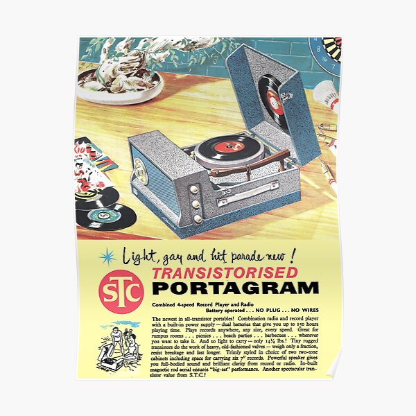 PORTABLE RECORD PLAYER - ADVERT Poster