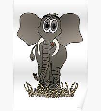 Grey Elephant Cartoon Poster