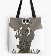 Grey Elephant Cartoon Tote Bag