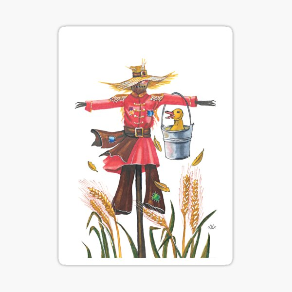 Scarecrow with duck Sticker