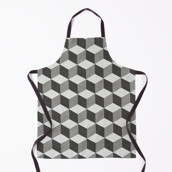Geometric Cube Pattern - Shades of Grey Apron