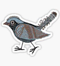 """""""Wacky Bird""""  Blues Brown Blk Sticker"""