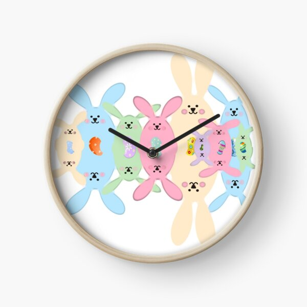 Spring Bunnies and Eggs  Clock
