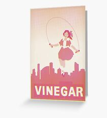 Skipping Girl Vinegar Vintage Screen Print Greeting Card