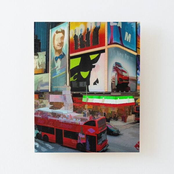 Times Square II (pastel paint style) Wood Mounted Print