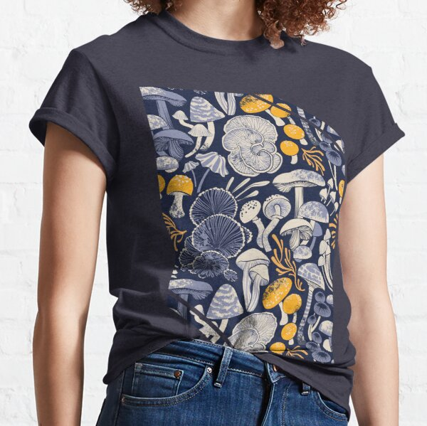 Mystical fungi // midnight blue background ivory pale blue and yellow wild mushrooms Classic T-Shirt