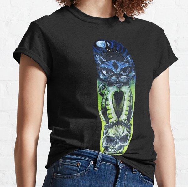 Cat Halloween Sugar Skull Skateboard #2 Classic T-Shirt