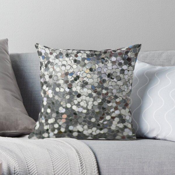 Silver Sequins Throw Pillow