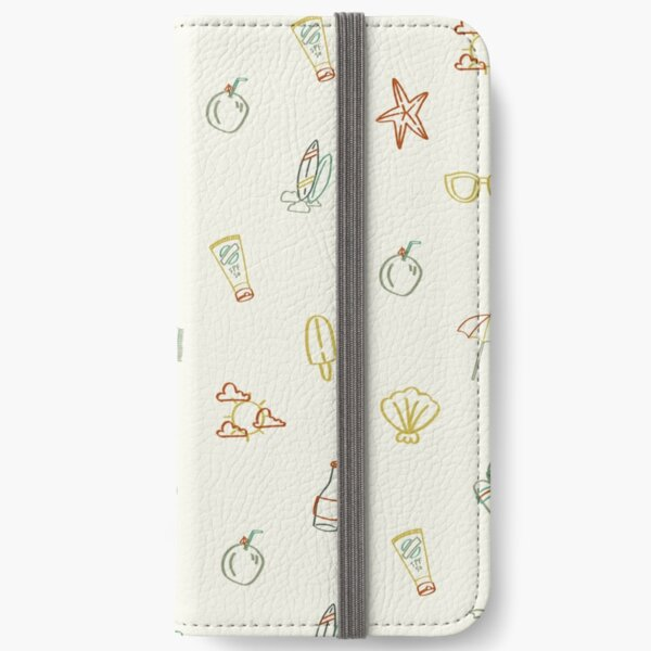 Beach Illustrated Pattern  iPhone Wallet