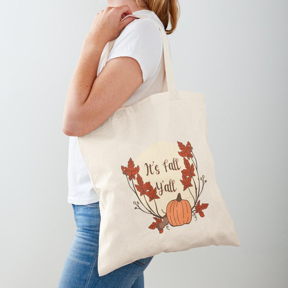 It's Fall Y'all! Pumpkin, acorn, maple leaves Tote Bag