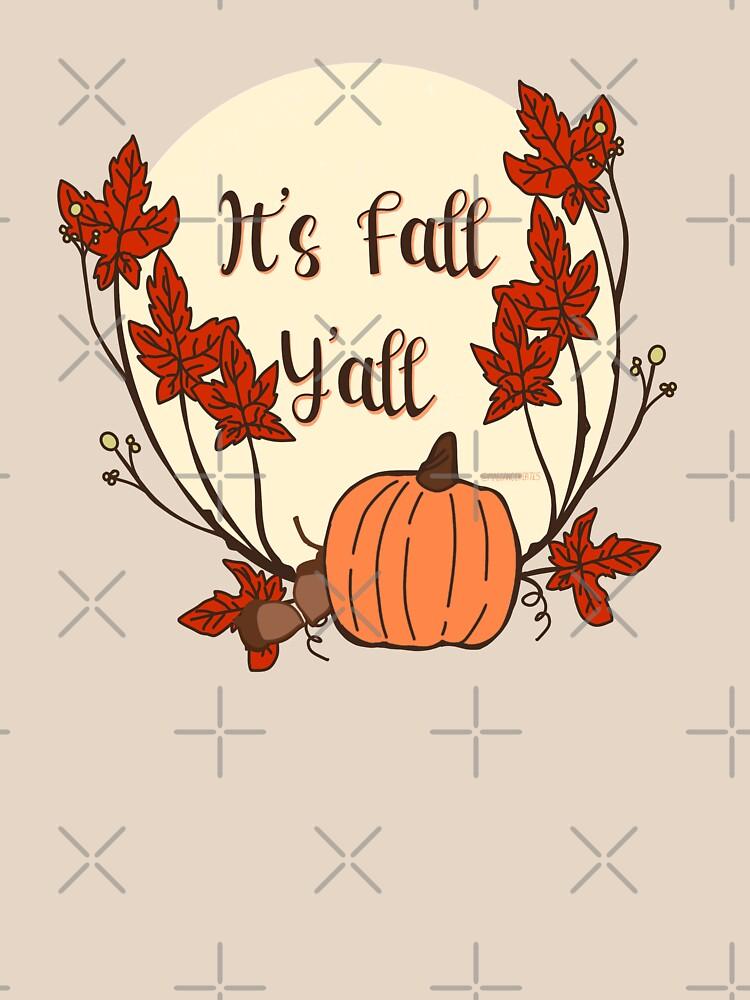 It's Fall Y'all! Pumpkin, acorn, maple leaves by MaeganCook