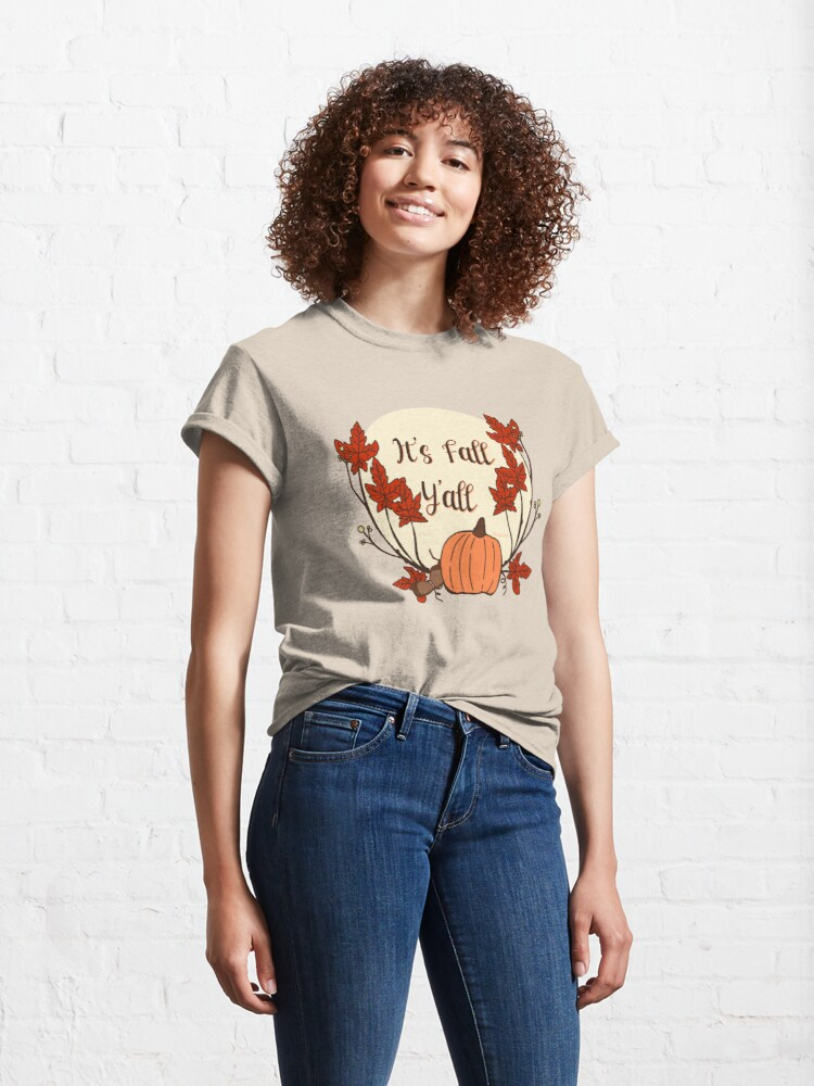 Alternate view of It's Fall Y'all! Pumpkin, acorn, maple leaves Classic T-Shirt
