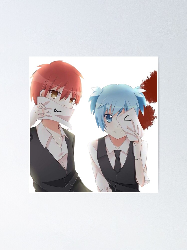 Assassination Classroom Karma X Nagisa And Blood Spatter Poster By Awaconcept Redbubble