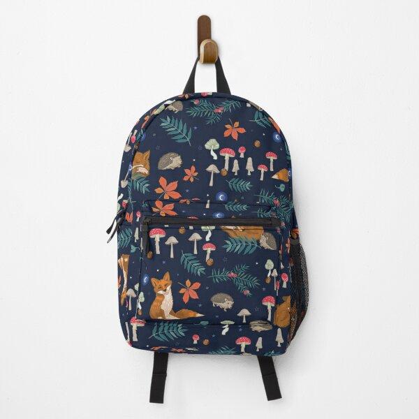 Hibernation woodland animals and toadstools on blue Backpack