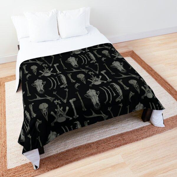 Black Bones - Anatomical animal bones illustration pattern Comforter