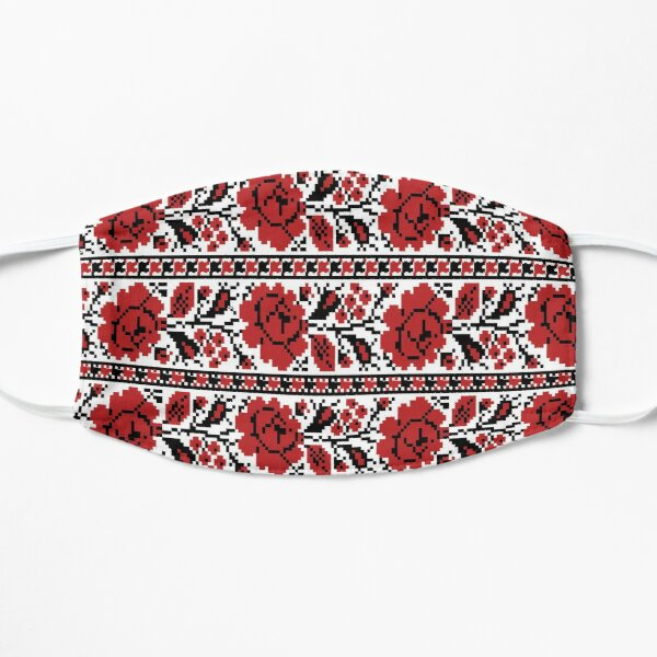 Ukrainian Embroidery Floral Ornament Red Black Flowers Ukrainian Souvenir For Her Mask