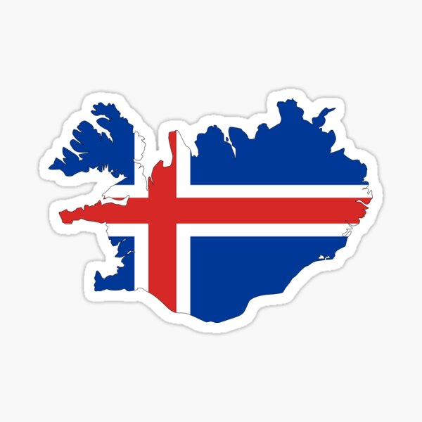 Iceland Flag Map Sticker