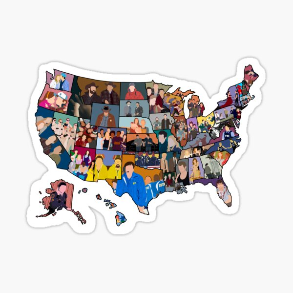 TV Shows Set in Every State (full map) Sticker