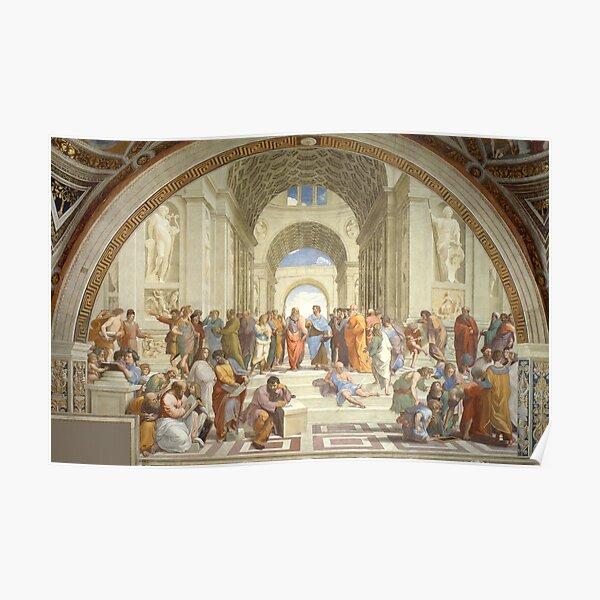La escuela de Atenas, Platón y Aristóteles, obra maestra de Rafael Póster