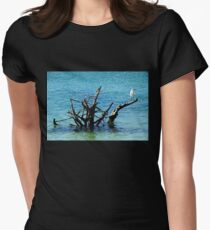 Snowy Perched On Driftwood Womens Fitted T-Shirt