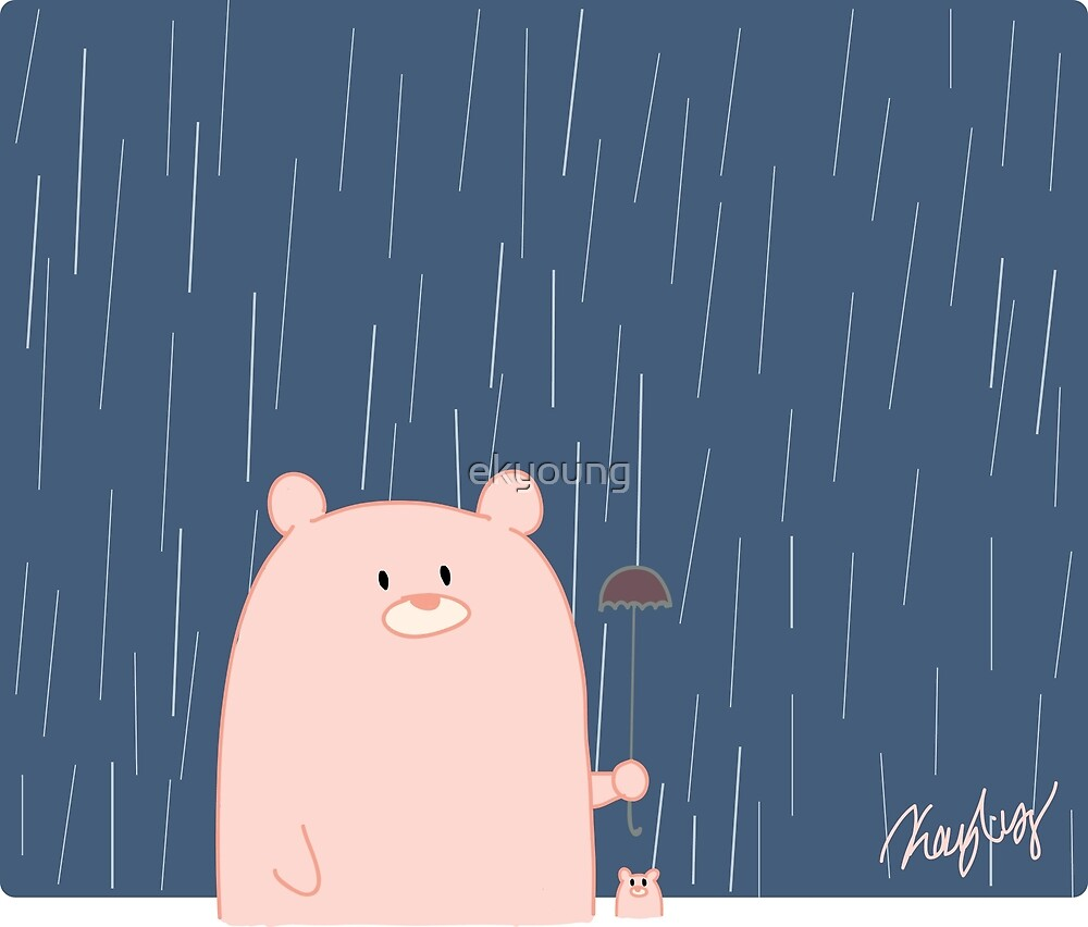 Pink Bears on a Rainy Day by ekyoung