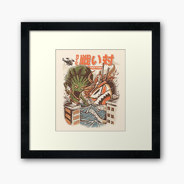 Brocco vs Ramen Kaijus Framed Art Print