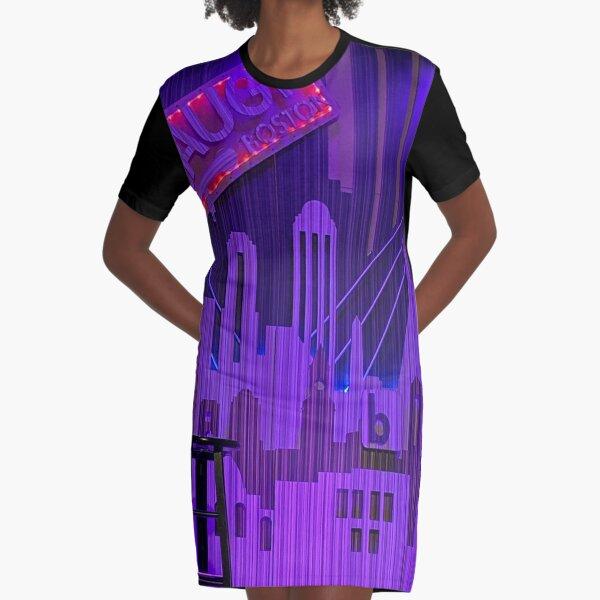 Purple Boston Graphic T-Shirt Dress