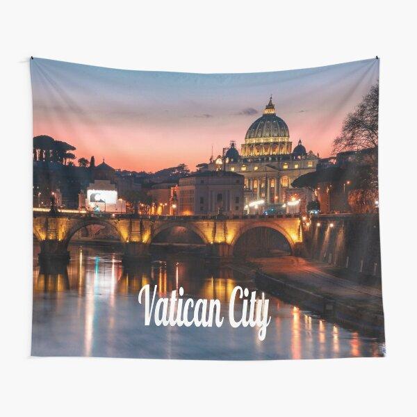 Vatican City At Night Roman Catholic Church Tapestry