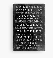 Paris Metro Subway Sign Art Metal Print