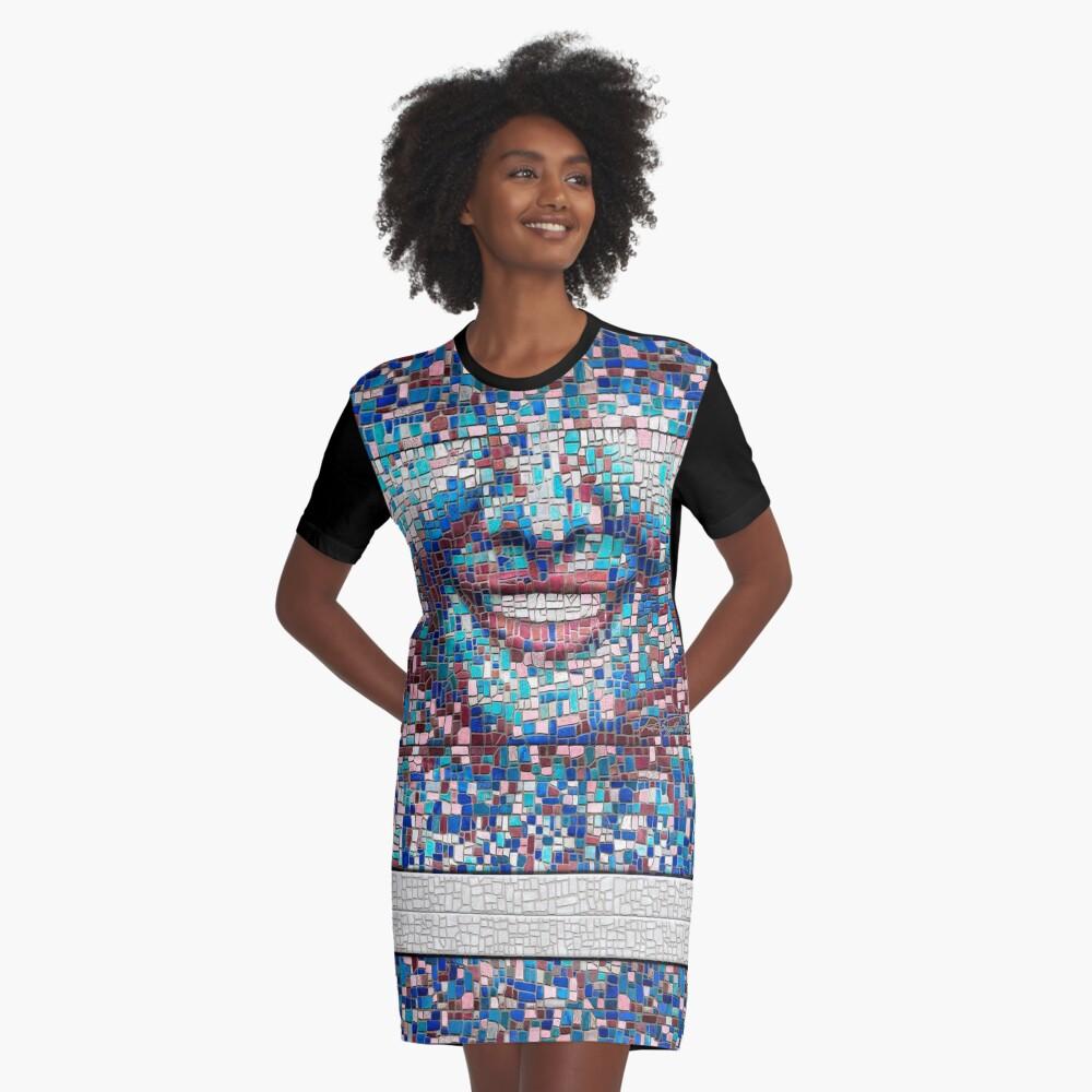 """Broken"" (mosaic tile, painted) - ""Smile"" Fine Art series Graphic T-Shirt Dress"