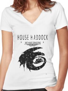 """HTTYD """"House Haddock"""" Graphic Tee Women's Fitted V-Neck T-Shirt"""
