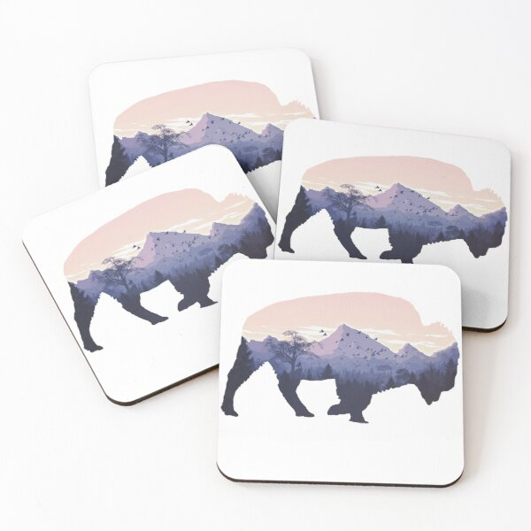 Buffalo American Bison Silhouette graphic Coasters (Set of 4)