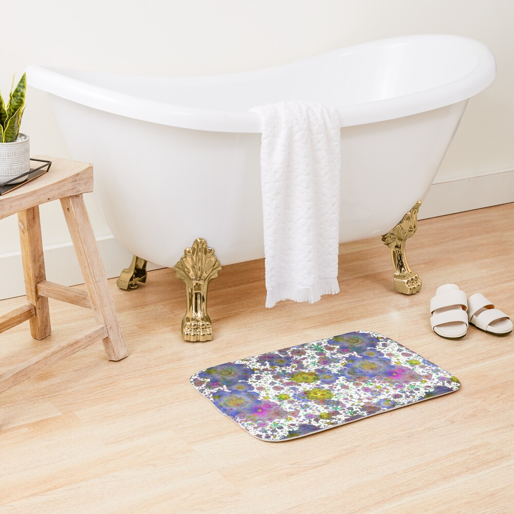 Floral pattern,transparent background Bath Mat