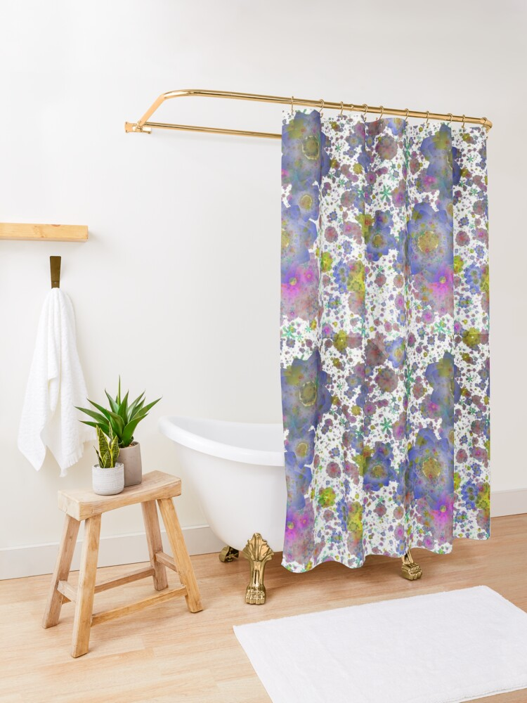 Alternate view of Floral pattern,transparent background Shower Curtain