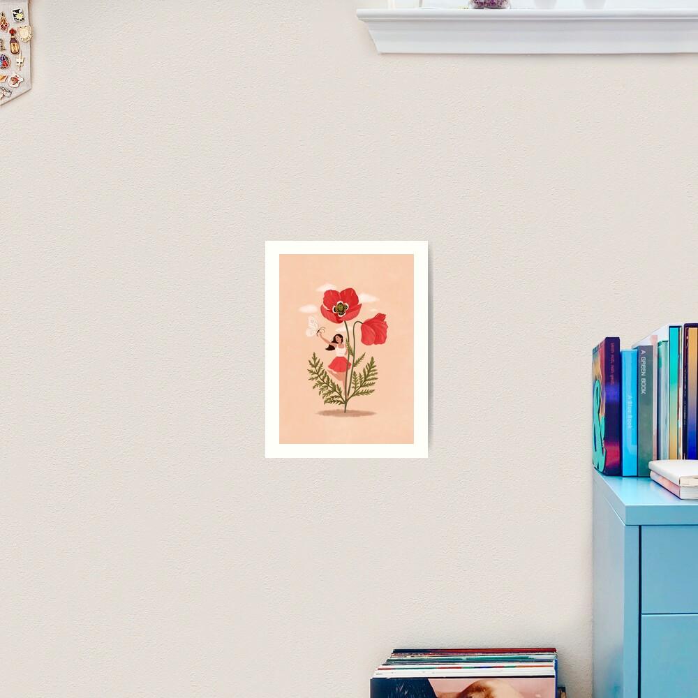 Girl and Poppy Flower Art Print