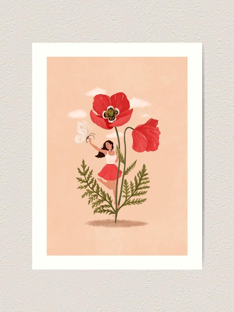 Alternate view of Girl and Poppy Flower Art Print