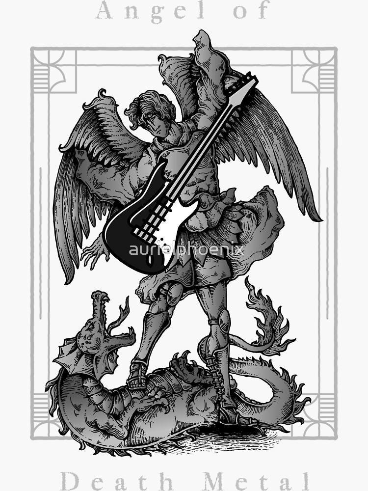 Angel of Death Metal fighting a Demon with a Bass Guitar by aurielphoenix